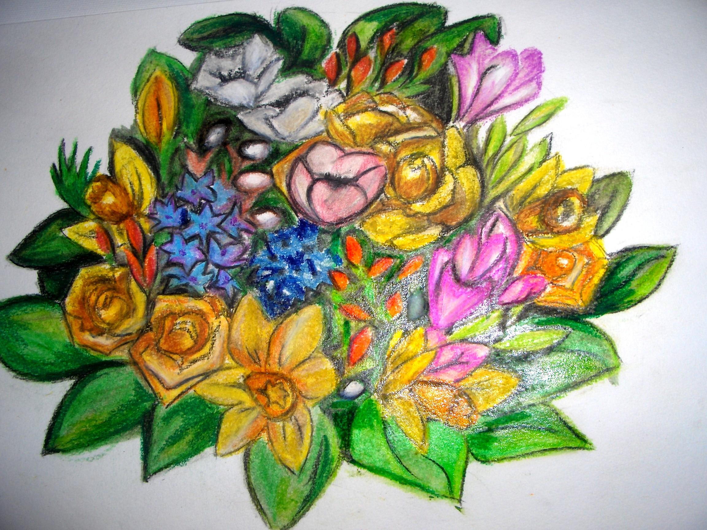 première reprise en main de mes pastels, bouquet de la st valentin 2006